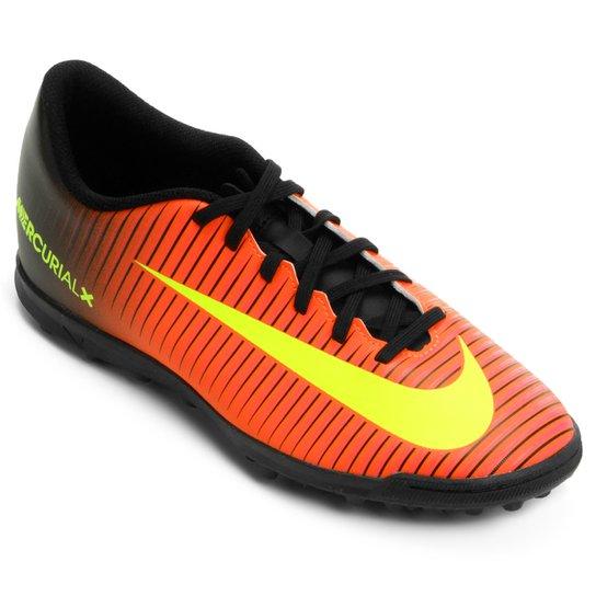 Chuteira Society Nike Mercurial Vortex 3 TF Masculina - Laranja e Preto - Compre  Agora  2ce260c70b19c