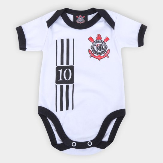 Body Infantil Corinthians Camisa 10 - Branco+Preto
