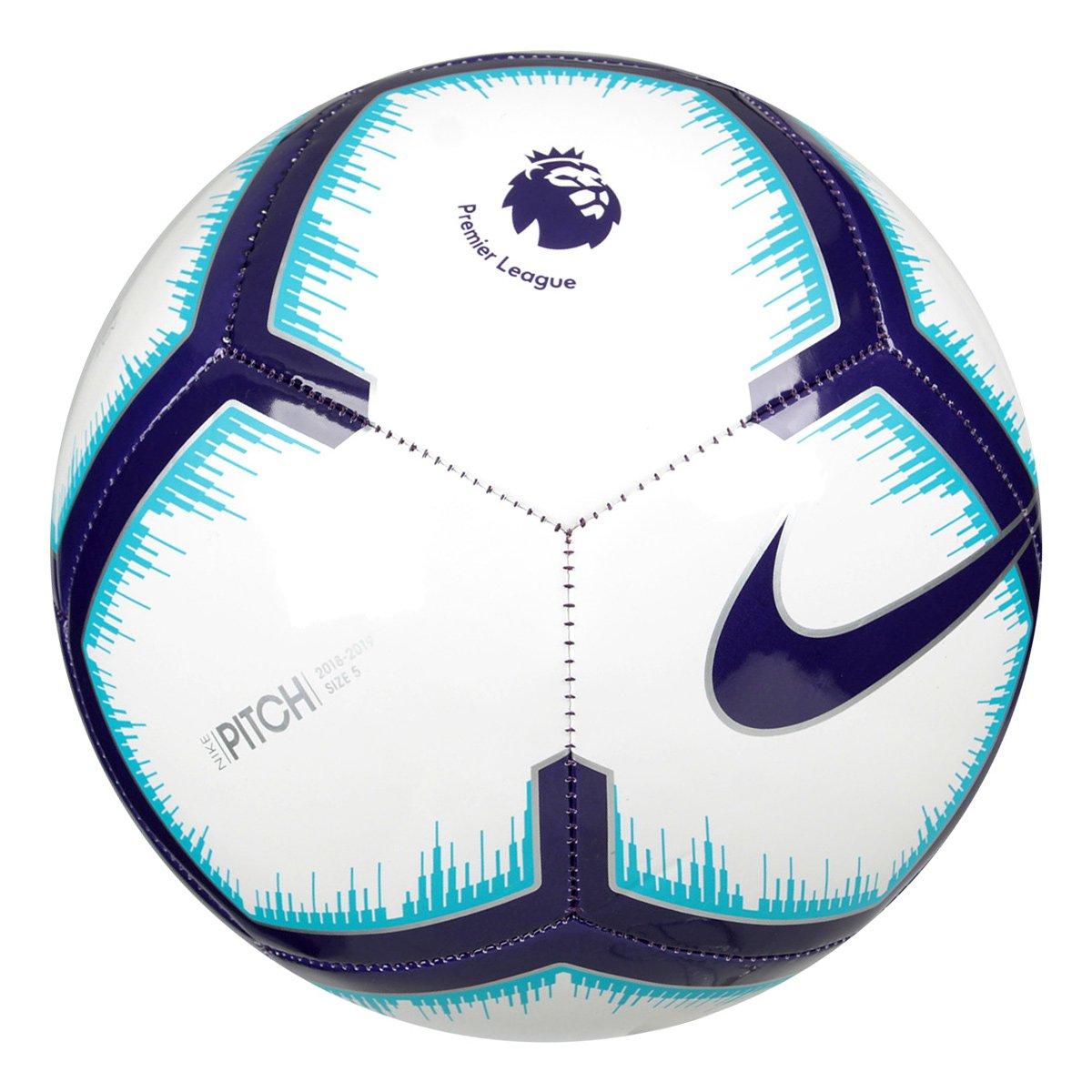 2057c625fe Bola de Futebol Campo Premier League Pitch Nike - Branco e Azul ...