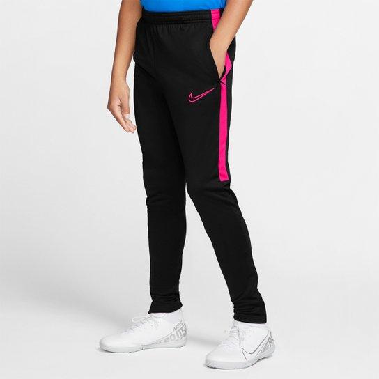 Calça Infantil Nike Academy Dry Fit KPZ - Preto+Pink