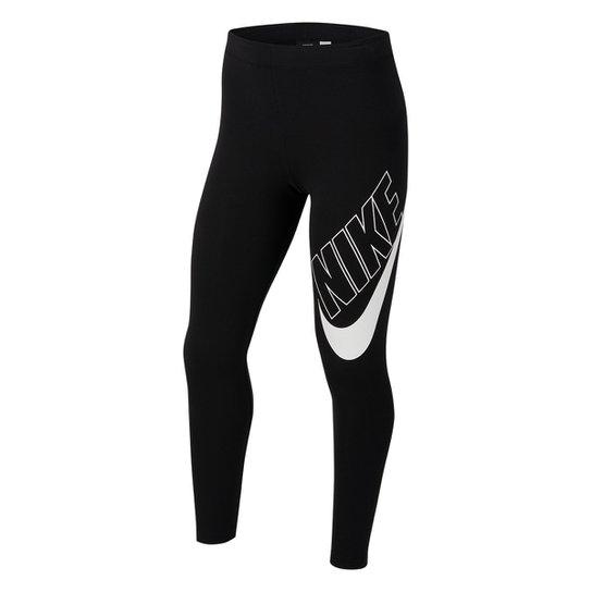 Calça Legging Infantil Nike Sportswear Feminina - Preto+Branco