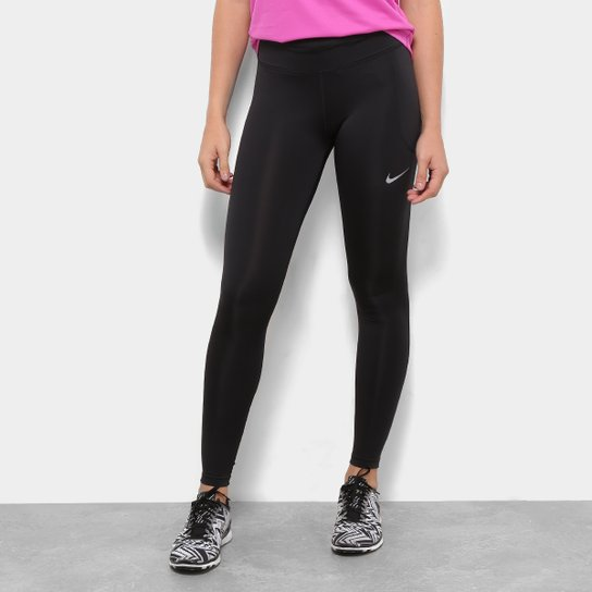 Calça Legging Nike Fast Tight Mr Feminina - Preto+Prata