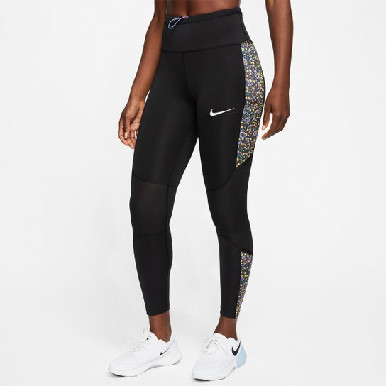 Calça Legging Nike Icon Clash Fast Tght 7/8 Feminina - Preto+Laranja