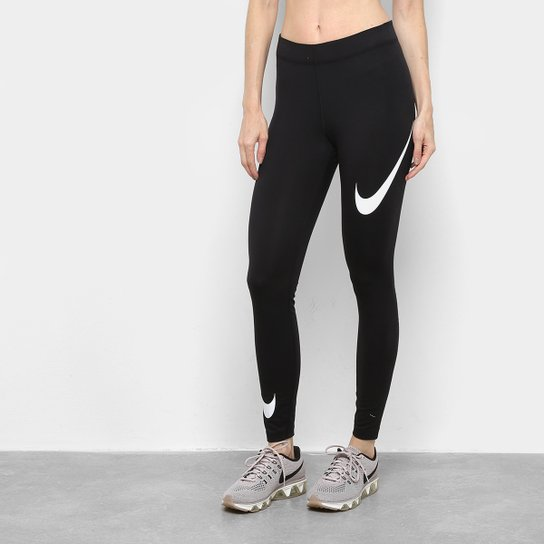 Calça Legging Nike NSW Swoosh Feminina - Preto+Branco