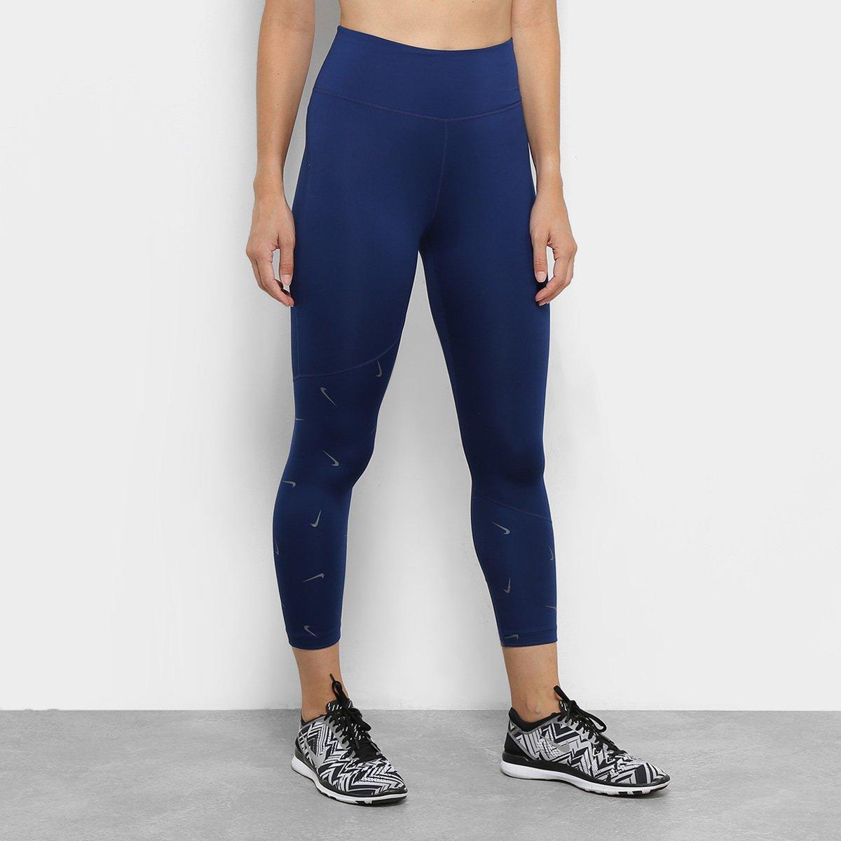 94559b1e1cb2b Calça Legging Nike One Crop Printed Feminina - Azul | Shop Timão