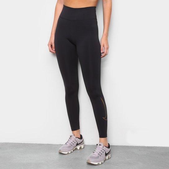 Calça Legging Nike One Icon Clash Feminina - Preto+Dourado