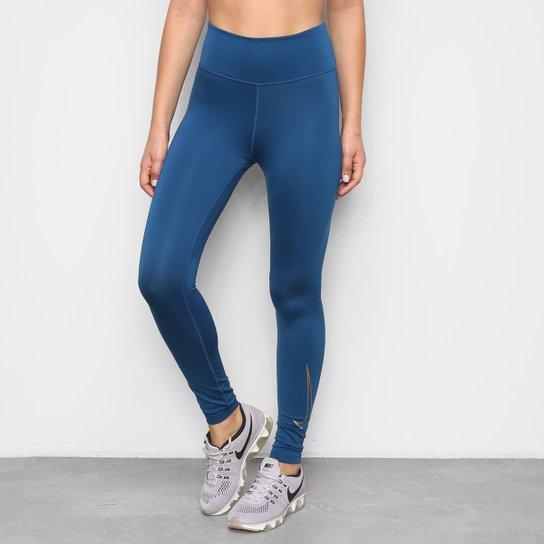 Calça Legging Nike One Icon Clash Feminina - Azul+Dourado