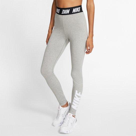 Calça Legging Nike Sportswear Club Feminina - Cinza+Branco
