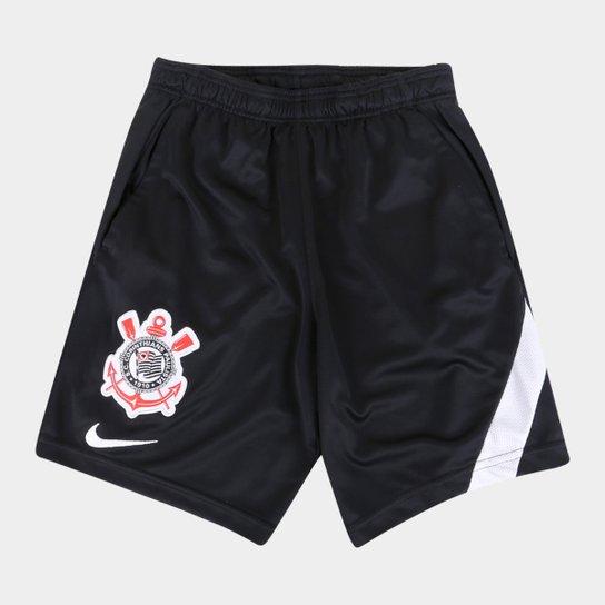 Calção Corinthians Juvenil Treino 20/21 Nike - Preto+Branco
