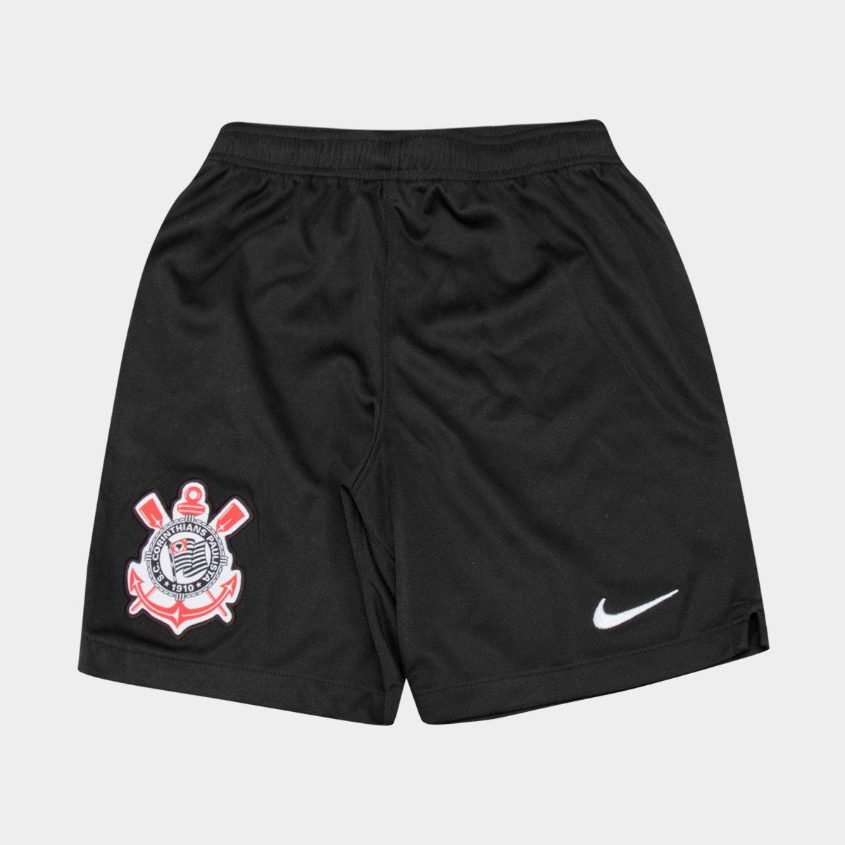 Calção Infantil Corinthians Nike - Preto e Branco - Compre Agora ... 818a8f2d832f3