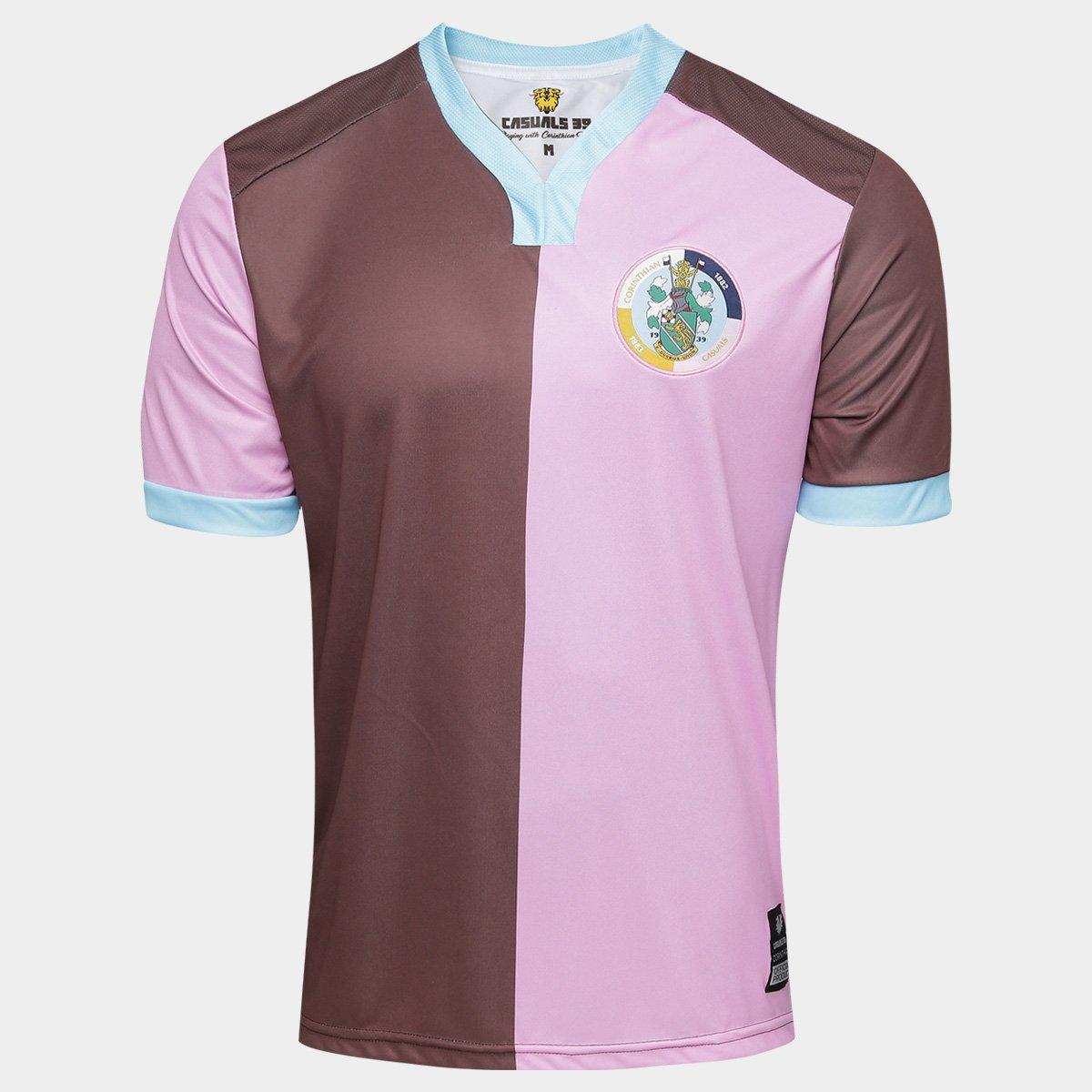 2a2eef2f99 Camisa Corinthian Casuals Home 17 18 Torcedor - Masculina - Marrom e ...