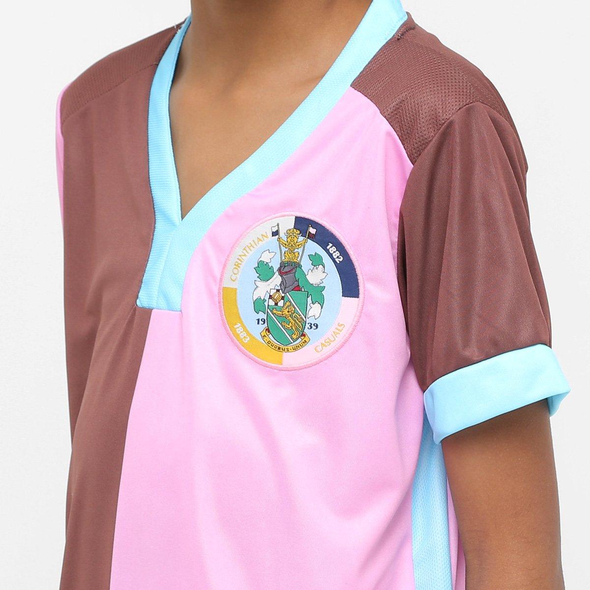 Camisa Corinthian Casuals Infantil Home 17 18 Torcedor - Marrom e ... 99e2de75116c3
