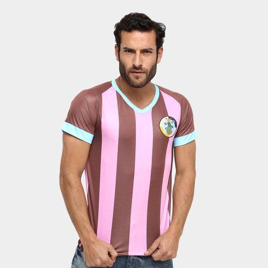 Camisa Corinthian-Casuals Réplica Masculina - Rosa+Marrom