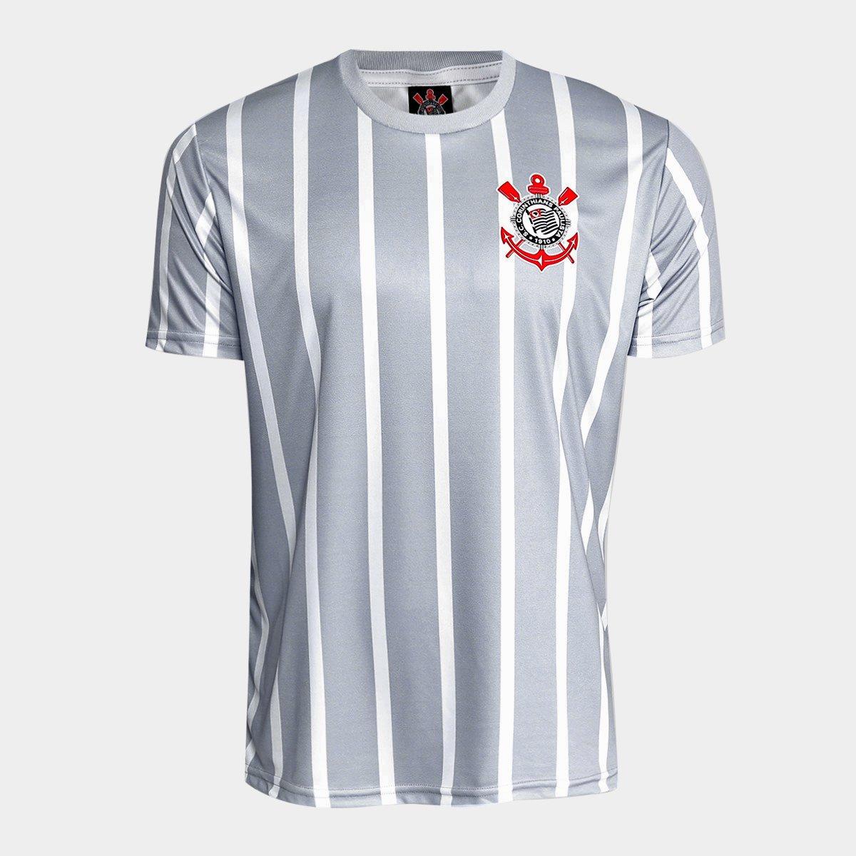 a446bf9a9ea3a Camisa Corinthians 2002 n° 7 Masculina - Branco e Cinza - Compre Agora