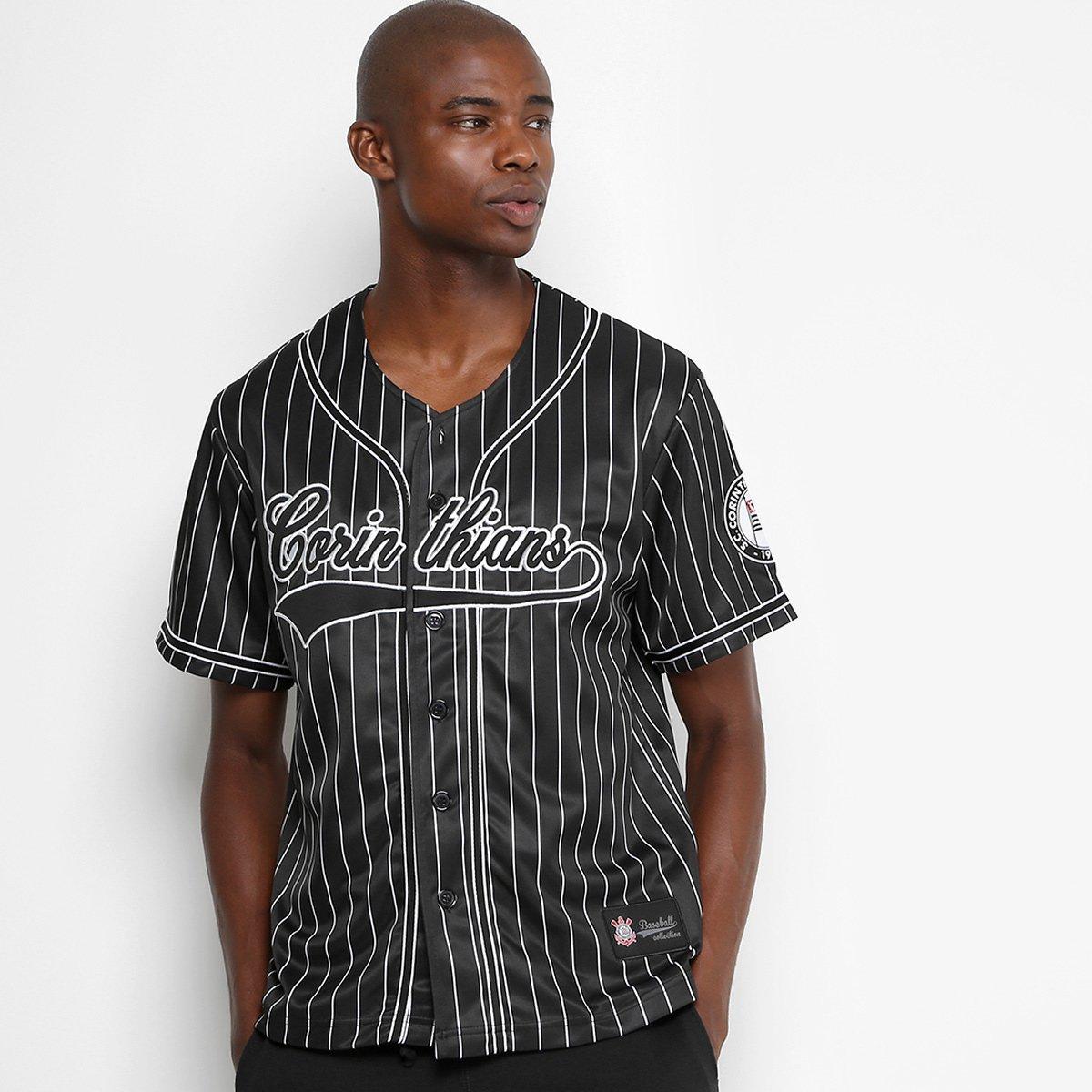 8cdd9dbd3f Camisa Corinthians Baseball Masculina - Preto e Branco - Compre ...