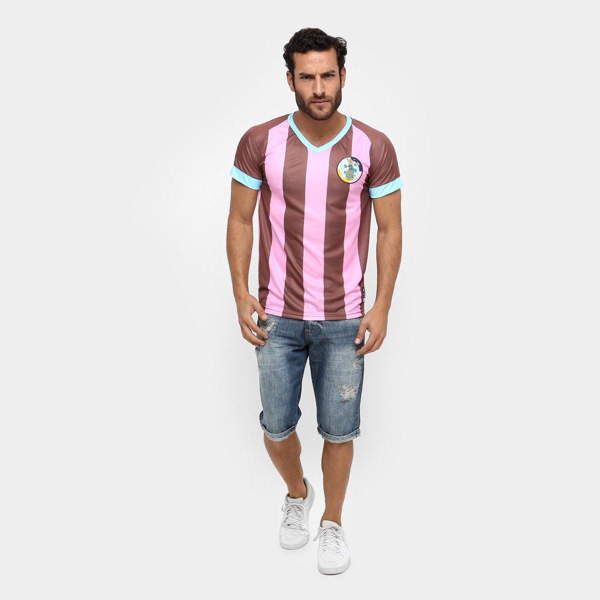 Camisa Corinthians Casuals Réplica Masculina - Rosa e Marrom ... 22a5c085eda62