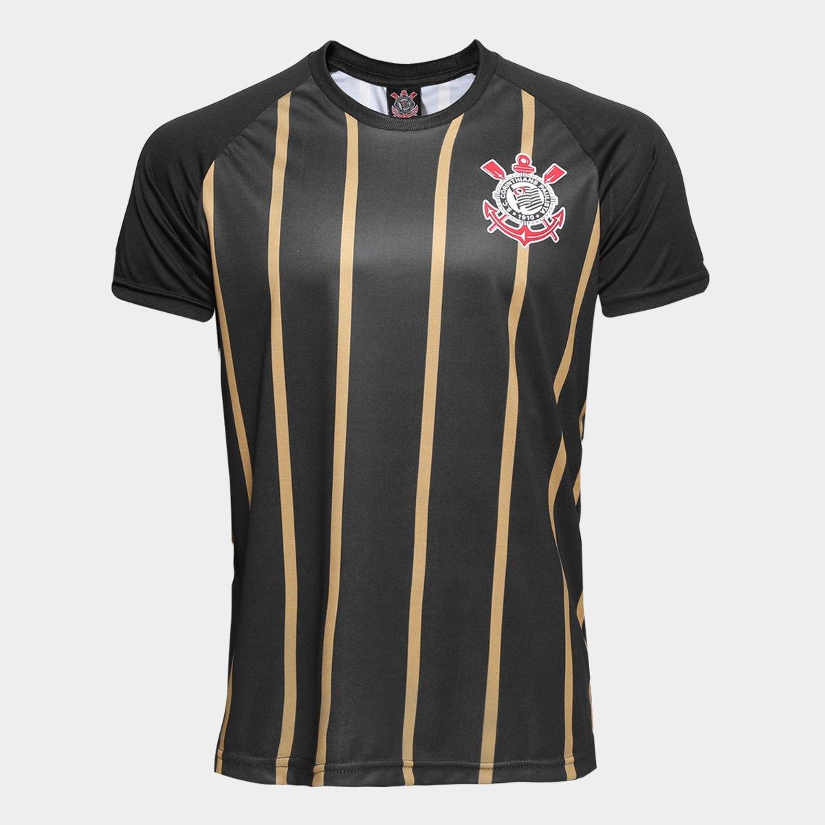 45224a2015 Camisa Corinthians Gold nº10 - Edição Limitada Masculina - Preto e ...