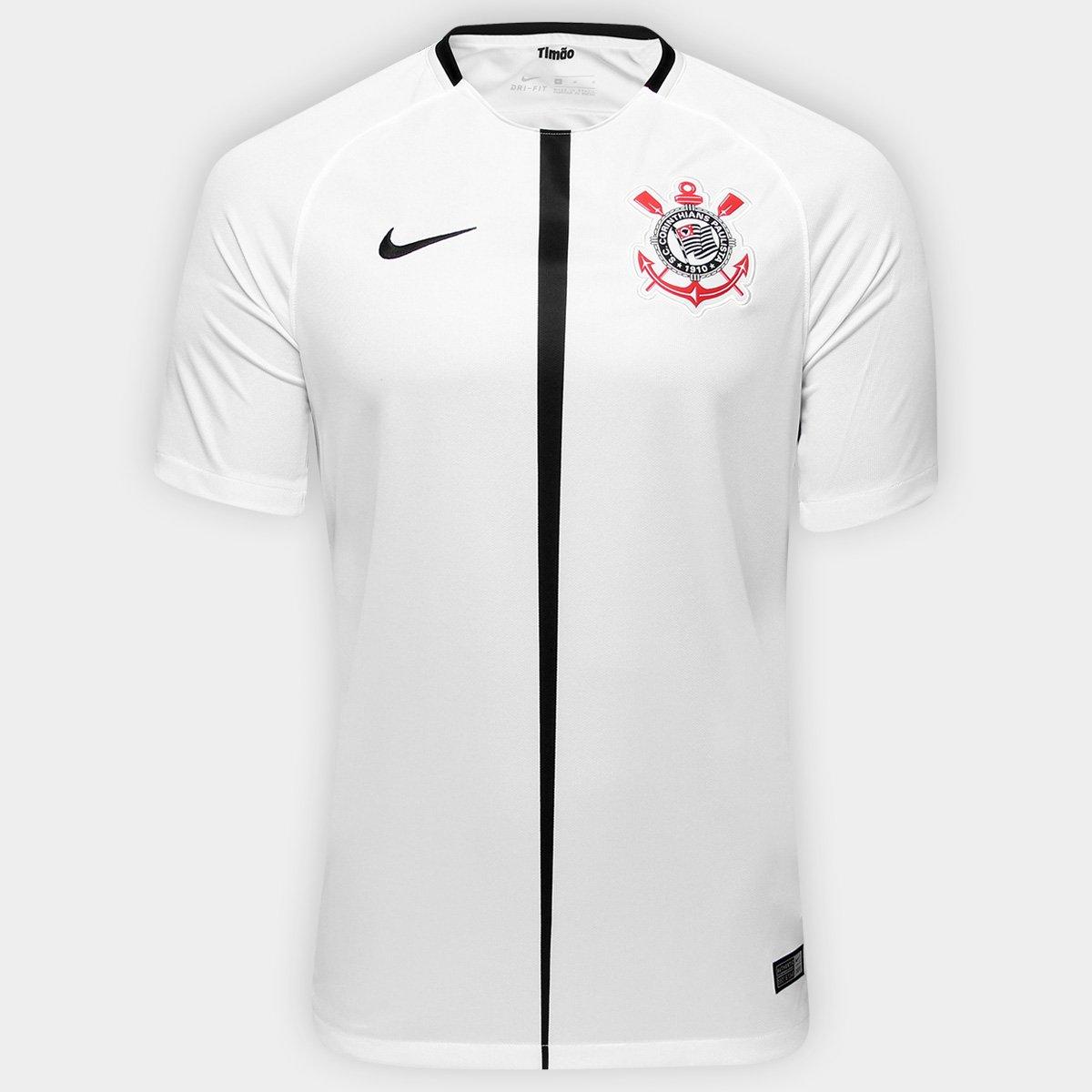 41cac791f Camisa Corinthians I 17 18 s nº Torcedor Nike Masculina - Branco e Preto -  Compre Agora