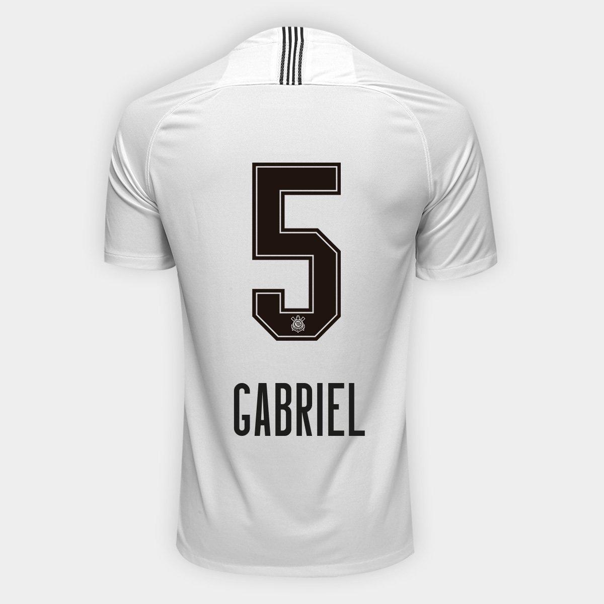 bd11df9e0d Camisa Corinthians I 18 19 Nº 5 Gabriel - Torcedor Nike Masculina - Branco+