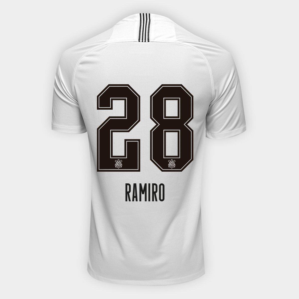 Camisa Corinthians I 18 19 Ramiro nº 28 Torcedor Nike Masculina ... d43914dc99dec