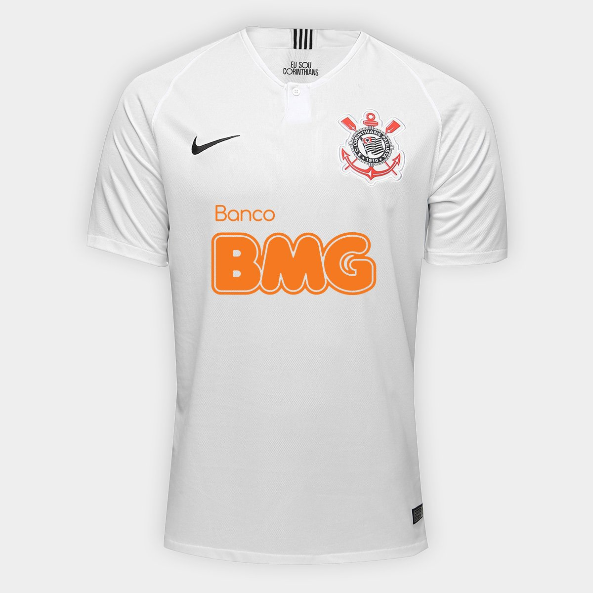 f0832889ae132 Camisa Corinthians I 18 19 s n° Patrocínio BMG Torcedor Nike Masculina -  Branco e Preto - Compre Agora