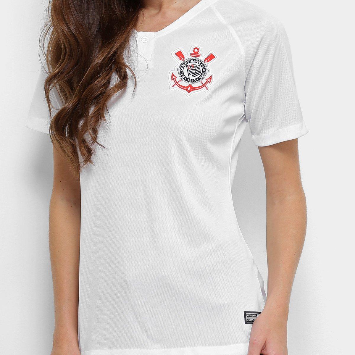 fa51028de1 Camisa Corinthians I 18 19 s n° - Torcedor Nike Feminina - Branco e ...
