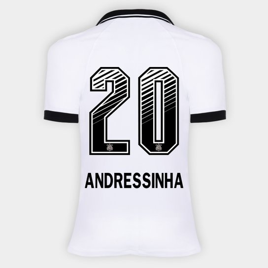 Camisa Corinthians I 20/21 - Andressinha N° 20 - Torcedor Nike Feminina - Branco+Preto