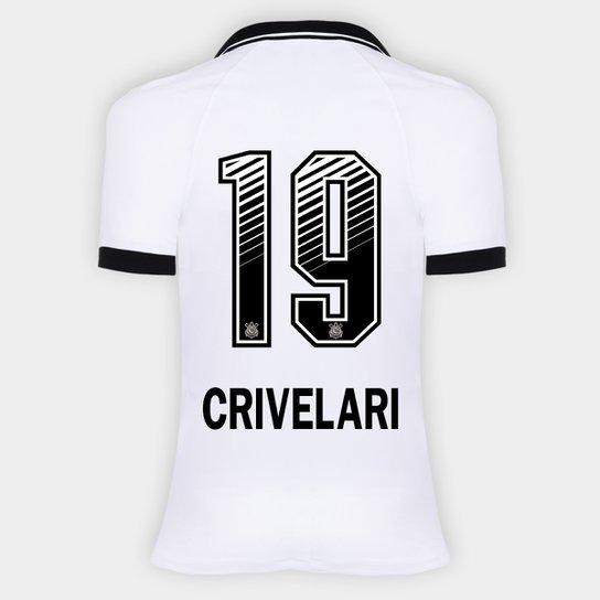 Camisa Corinthians I 20/21 - Crivelari N° 19 - Torcedor Nike Feminina - Branco+Preto