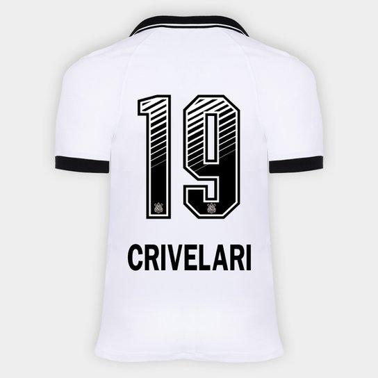 Camisa Corinthians I 20/21 - Crivelari N° 19 - Torcedor Nike Masculina - Branco+Preto