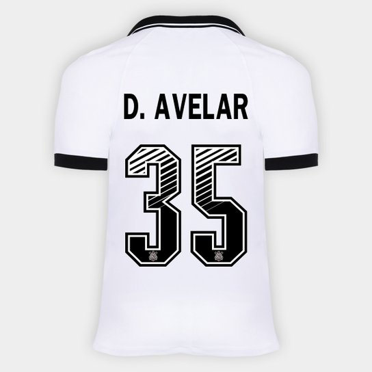 Camisa Corinthians I 20/21 - D. Avelar Nº 35 - Torcedor Nike Masculina - Branco+Preto