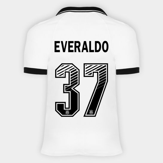 Camisa Corinthians I 20/21 - Everaldo Nº 37 - Torcedor Nike Masculina - Branco+Preto