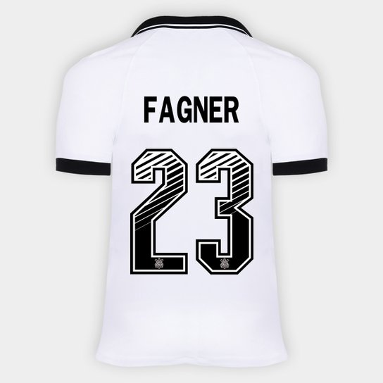 Camisa Corinthians I 20/21 - Fagner Nº 23 - Torcedor Nike Masculina - Branco+Preto