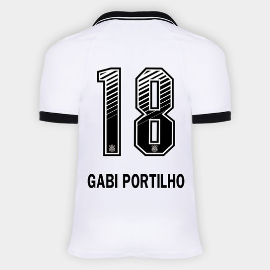 Camisa Corinthians I 20/21 - Gabi Portilho N° 18 - Torcedor Nike Masculina - Branco+Preto