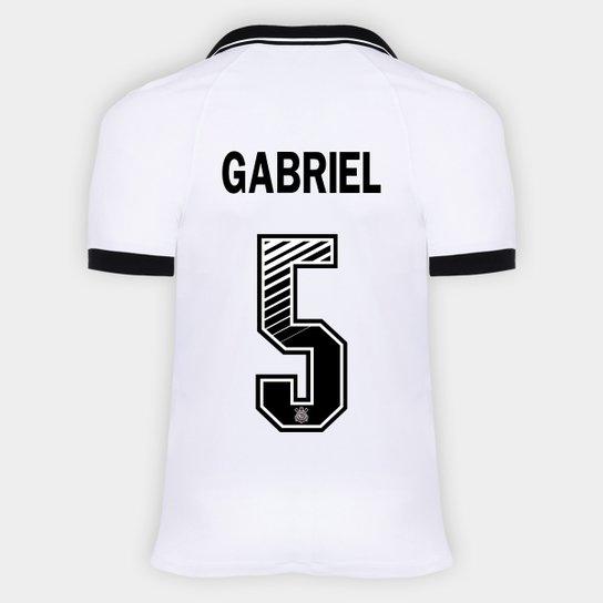 Camisa Corinthians I 20/21 - Gabriel Nº 5 - Torcedor Nike Masculina - Branco+Preto