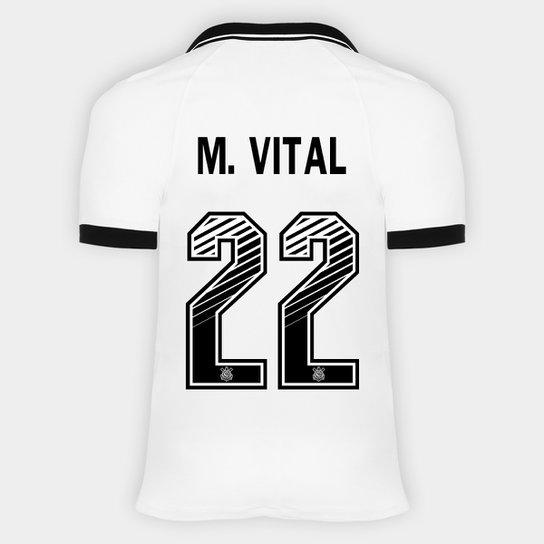 Camisa Corinthians I 20/21 - M. Vital Nº 22 - Torcedor Nike Masculina - Branco+Preto