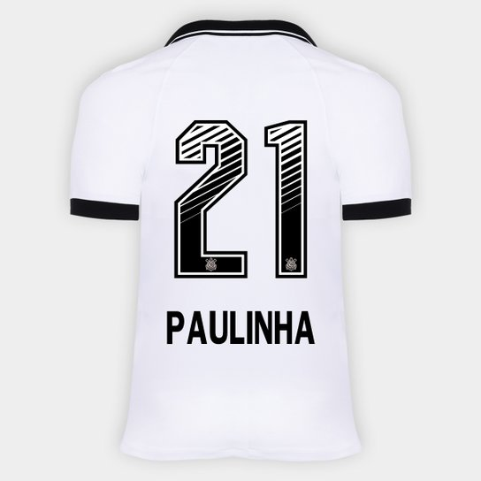 Camisa Corinthians I 20/21 - Paulinha N° 21 - Torcedor Nike Masculina - Branco+Preto