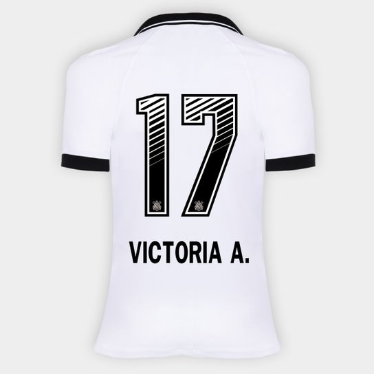 Camisa Corinthians I 20/21 - Victoria A. N° 17 - Torcedor Nike Feminina - Branco+Preto