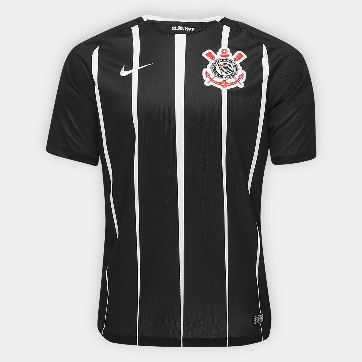 0f345ca18 Camisa Corinthians II 17 18 s nº Torcedor Nike Masculina - Preto e Branco -  Compre Agora
