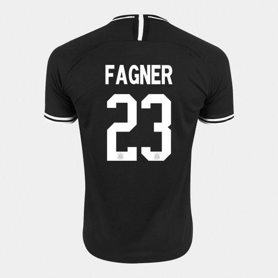 Camisa Corinthians II 19/20 - Fagner Nº 23 - Torcedor Nike Masculina - Preto+Branco