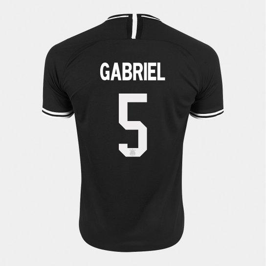 Camisa Corinthians II 19/20 - Gabriel Nº 5   - Torcedor Nike Masculina - Preto+Branco