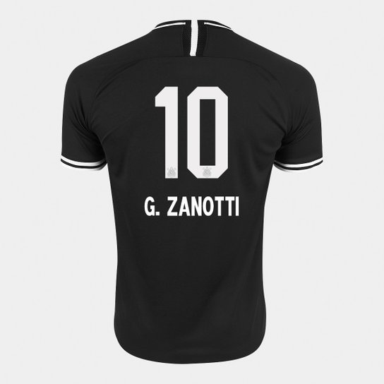 Camisa Corinthians II 19/20 N° 10 G. Zanotti - Torcedor Nike Masculina - Preto+Branco