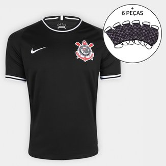 Camisa Corinthians II 19/20 s/nº Torcedor Nike Masculina + Kit de Máscaras