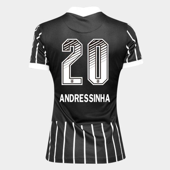 Camisa Corinthians II 20/21 - Andressinha N° 20 - Torcedor Nike Feminina - Preto+Branco