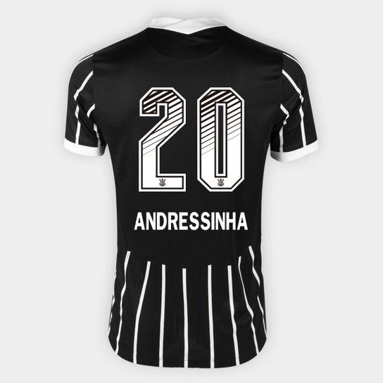 Camisa Corinthians II 20/21 - Andressinha N° 20 - Torcedor Nike Masculina - Preto+Branco