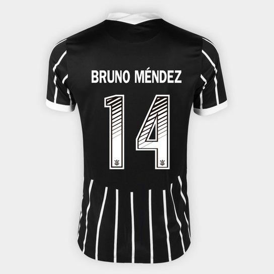 Camisa Corinthians II 20/21 - Bruno Méndez Nº 14 - Torcedor Nike Masculina - Preto+Branco