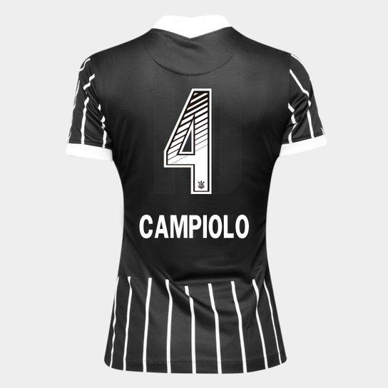 Camisa Corinthians II 20/21 - Campiolo N° 4 - Torcedor Nike Feminina - Preto+Branco