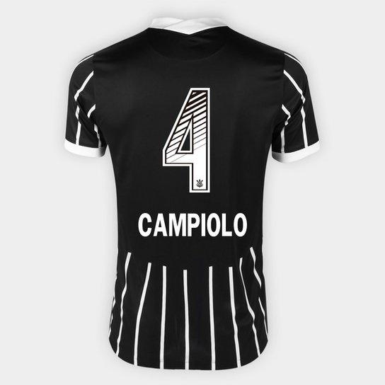 Camisa Corinthians II 20/21 - Campiolo N° 4 - Torcedor Nike Masculina - Preto+Branco