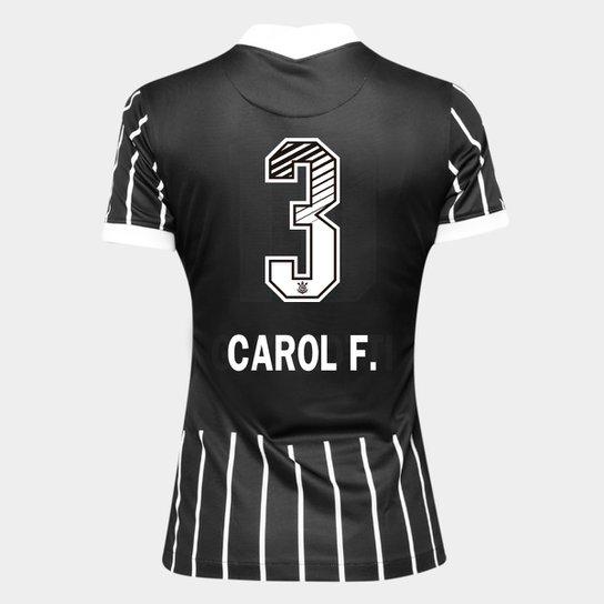 Camisa Corinthians II 20/21 - Carol F. N° 3 Torcedor Nike Feminina - Preto+Branco