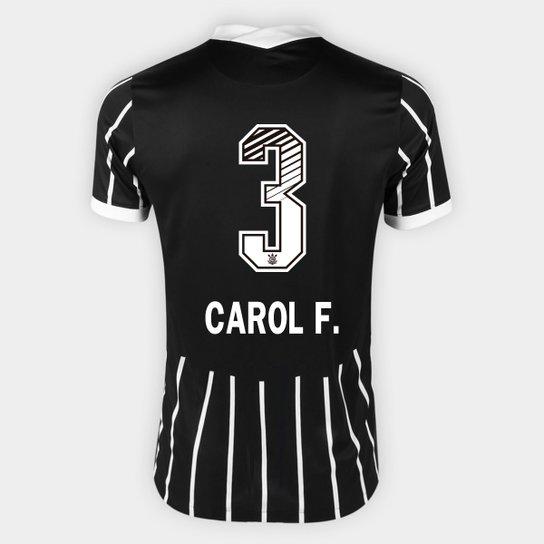 Camisa Corinthians II 20/21 - Carol F. N° 3 Torcedor Nike Masculina - Preto+Branco