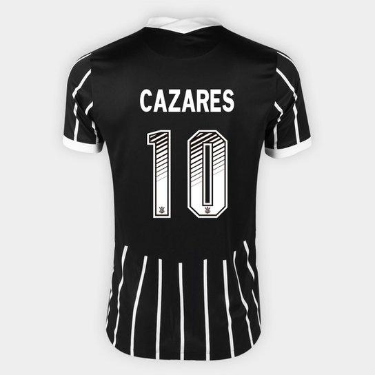 Camisa Corinthians II 20/21 Cazares Nº 10 Torcedor Nike Masculina - Preto+Branco